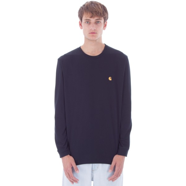 Carhartt Chase Long Sleeve T-Shirt (Dark Navy/Gold)
