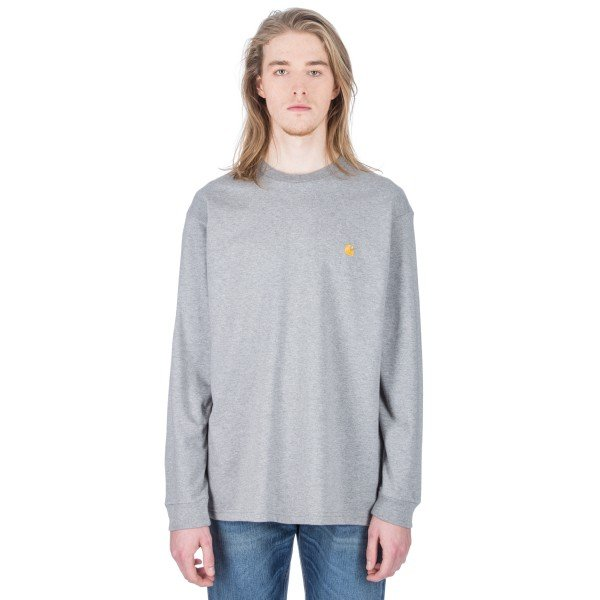 Carhartt Chase Long Sleeve T-Shirt (Grey Heather/Gold)
