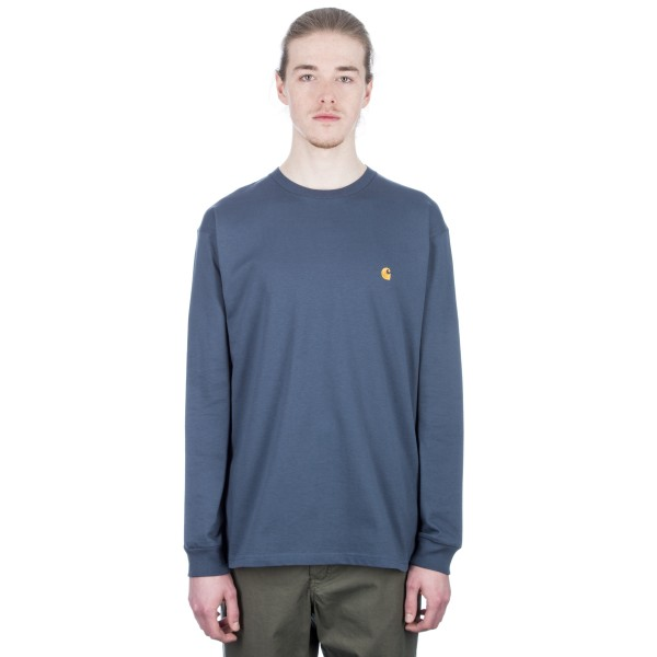 Carhartt Chase Long Sleeve T-Shirt (Stone Blue/Gold)
