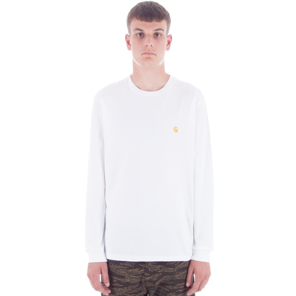 Carhartt Chase Long Sleeve T-Shirt (White/Gold)