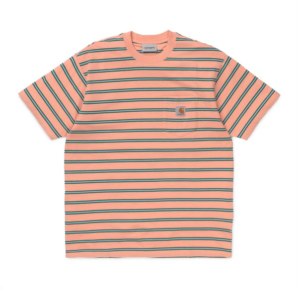 Carhartt Houston Pocket T-Shirt (Houston Stripe, Peach)