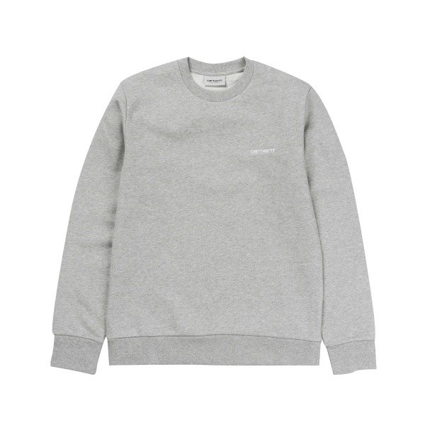 Carhartt Script Embroidery Crew Neck Sweatshirt (Grey Heather/Wax)