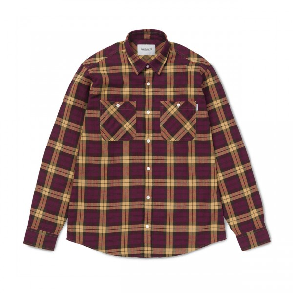 Carhartt Sloman Long Sleeve Shirt (Mulberry/Fawn)