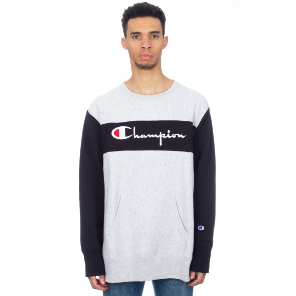 Champion Reverse Weave Block Crew Neck Sweatshirt (Light Oxford Grey/Black)