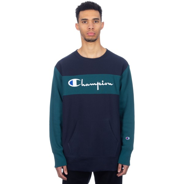 Champion Reverse Weave Block Crew Neck Sweatshirt (Navy/Teal)