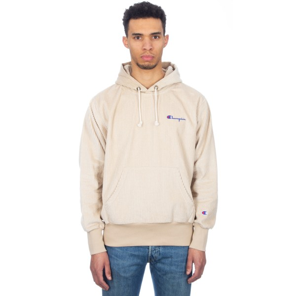 Champion Reverse Weave Corduroy Pullover Hooded Sweatshirt (Off-White)