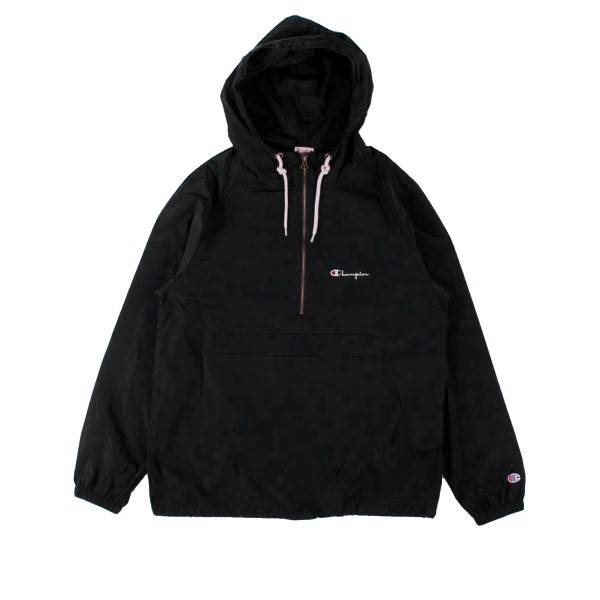 Champion Reverse Weave Half Zip-Through Hooded Jacket (Black)