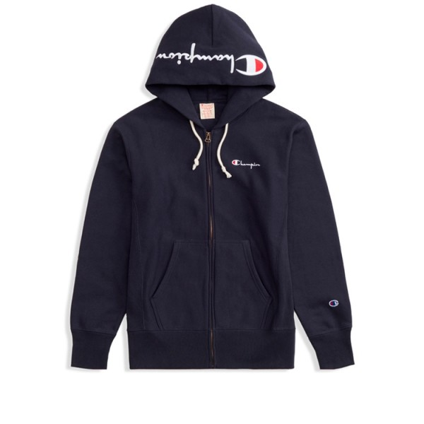 Champion Reverse Weave Hood Script Applique Full Zip Hooded Sweatshirt (New Navy)
