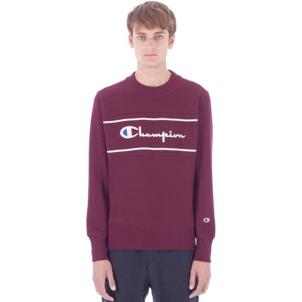 Champion Reverse Weave Jacquard Insert Crew Neck Sweatshirt (Maroon)