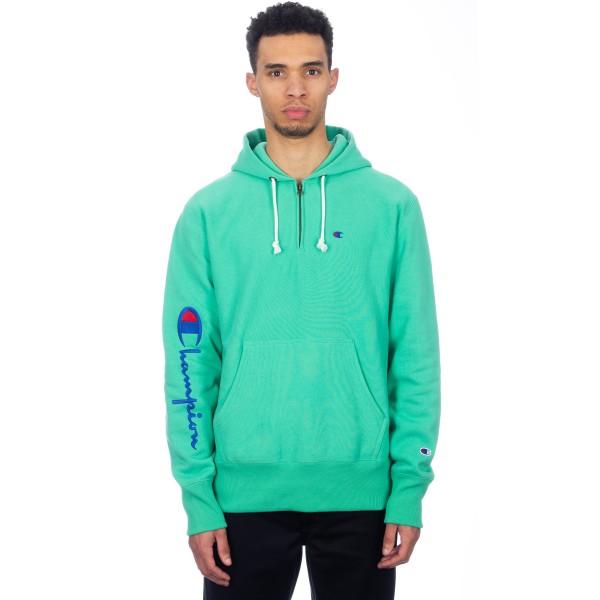 Champion Reverse Weave Logo Half Zip Pullover Hooded Sweatshirt (Green)