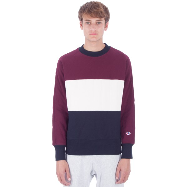 Champion Reverse Weave Quilted Ski Crew Neck Sweatshirt (Maroon/White/Navy)