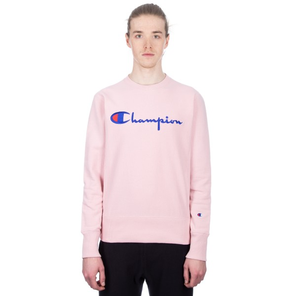 Champion Reverse Weave Script Applique Crew Neck Sweatshirt (Pink)