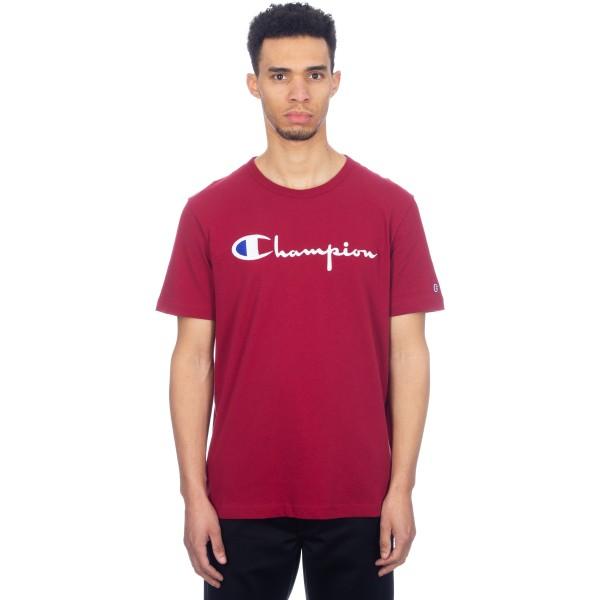 Champion Reverse Weave Script Applique Crew Neck T-Shirt (Burgundy)