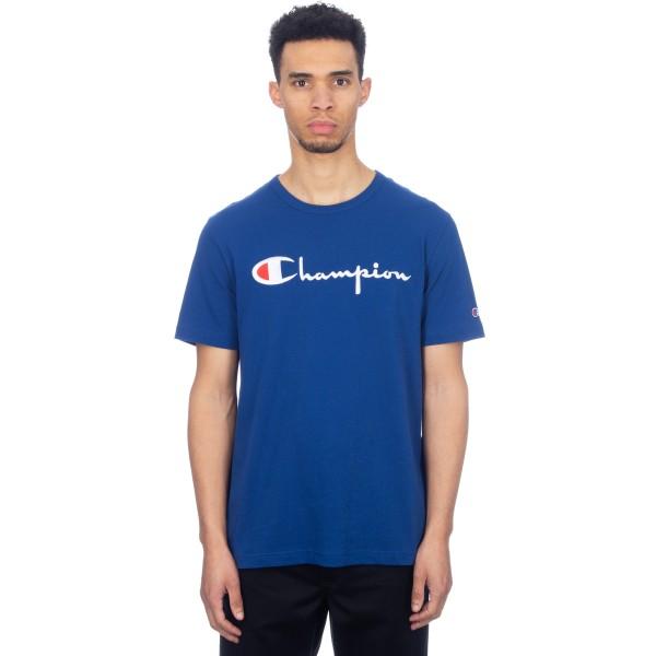 Champion Reverse Weave Script Applique Crew Neck T-Shirt (Dark Blue)