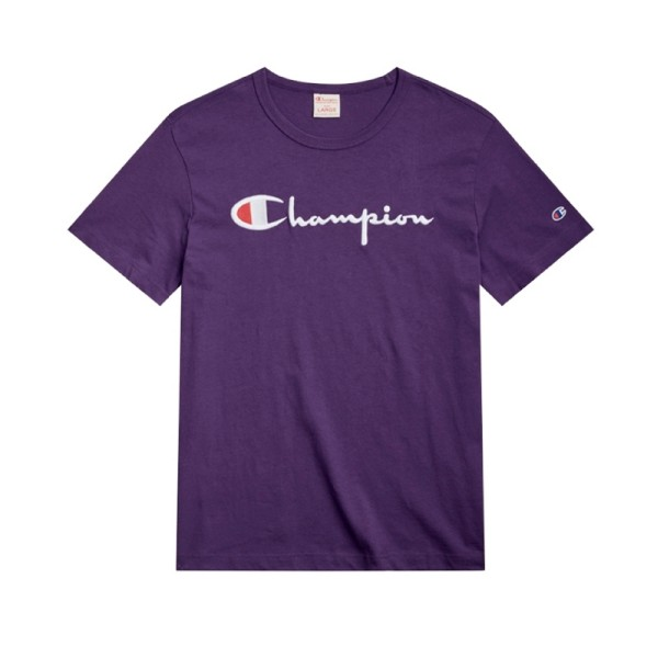 Champion Reverse Weave Script Applique Crew Neck T-Shirt (Dark Purple)