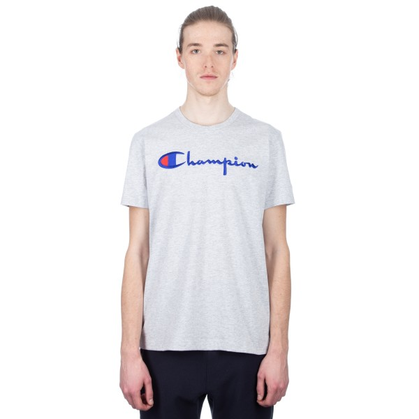 Champion Reverse Weave Script Applique Crew Neck T-Shirt (Light Oxford Grey)