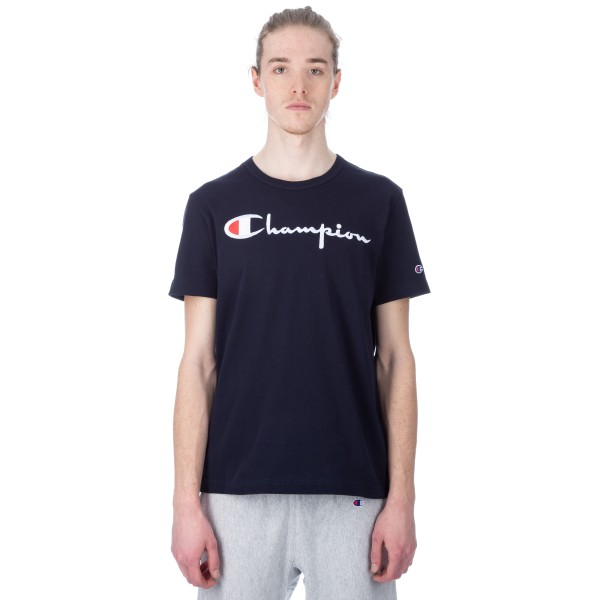 Champion Reverse Weave Script Applique Crew Neck T-Shirt (New Navy)