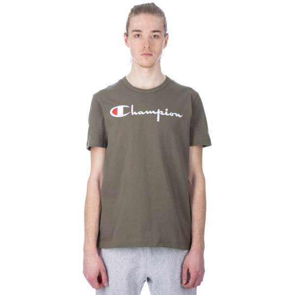 Champion Reverse Weave Script Applique Crew Neck T-Shirt (Olive)