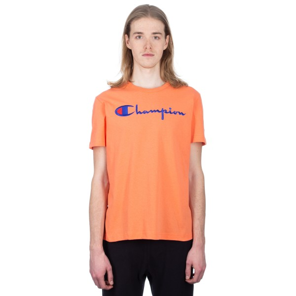 Champion Reverse Weave Script Applique Crew Neck T-Shirt (Salmon)