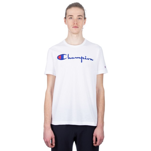 Champion Reverse Weave Script Applique Crew Neck T-Shirt (White)