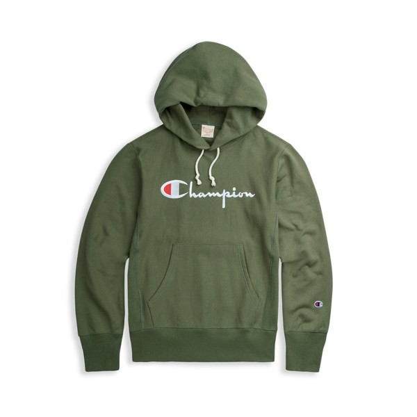 Champion Reverse Weave Script Applique Pullover Hooded Sweatshirt (Green)