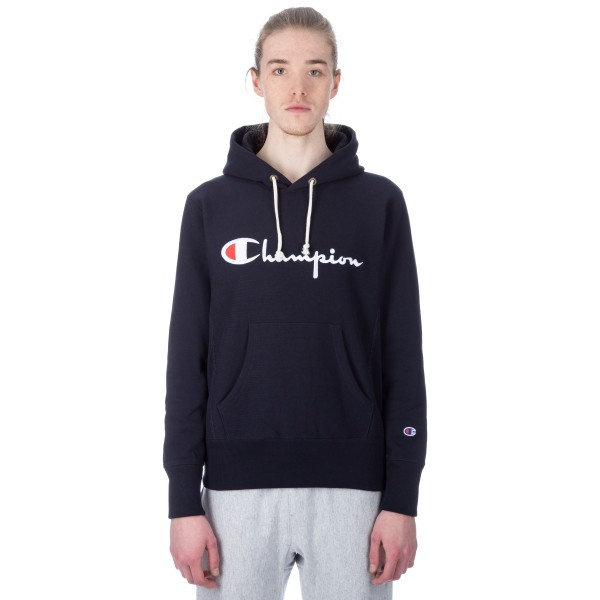 Champion Reverse Weave Script Applique Pullover Hooded Sweatshirt (Navy)