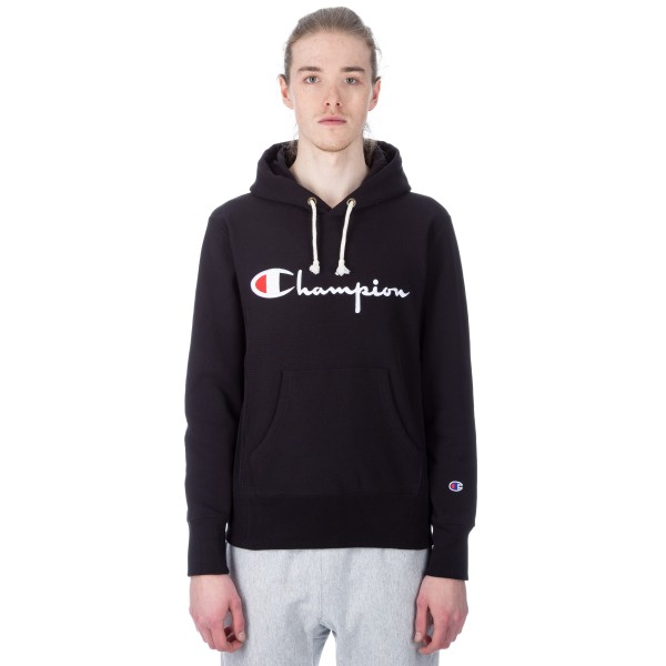 Champion Reverse Weave Script Applique Pullover Hooded Sweatshirt (New Black)