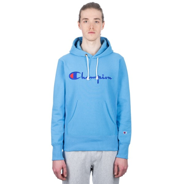 Champion Reverse Weave Script Applique Pullover Hooded Sweatshirt (Sky Blue)