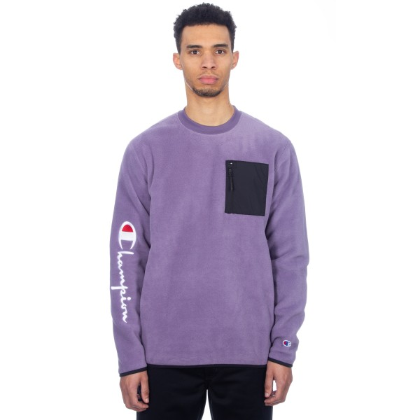 Champion Reverse Weave Sleeve Script Crew Neck Fleece (Purple/Black)