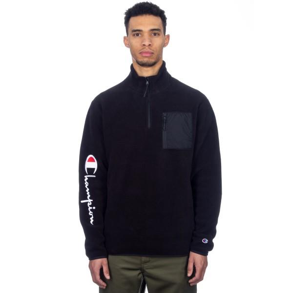 Champion Reverse Weave Sleeve Script Half Zip Fleece (Black/Black)