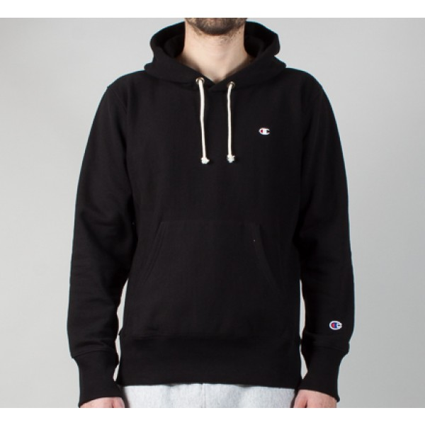 Champion Reverse Weave Small C Pullover Hooded Sweatshirt (Black)