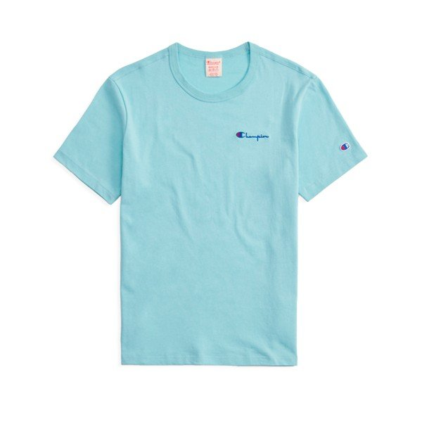 Champion Reverse Weave Small Script Crew Neck T-Shirt (Light Blue)