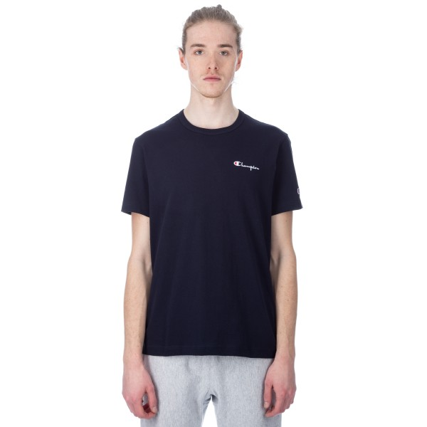 Champion Reverse Weave Small Script Crew Neck T-Shirt (Navy)