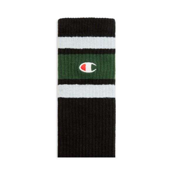 Champion Reverse Weave Stripe Ribbed Crew Sock (Black)