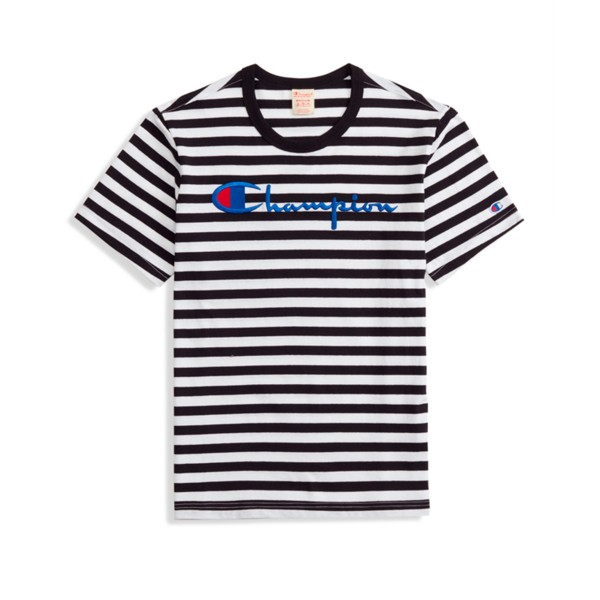 Champion Reverse Weave Striped Script Logo Crew Neck T-Shirt (Black/White)