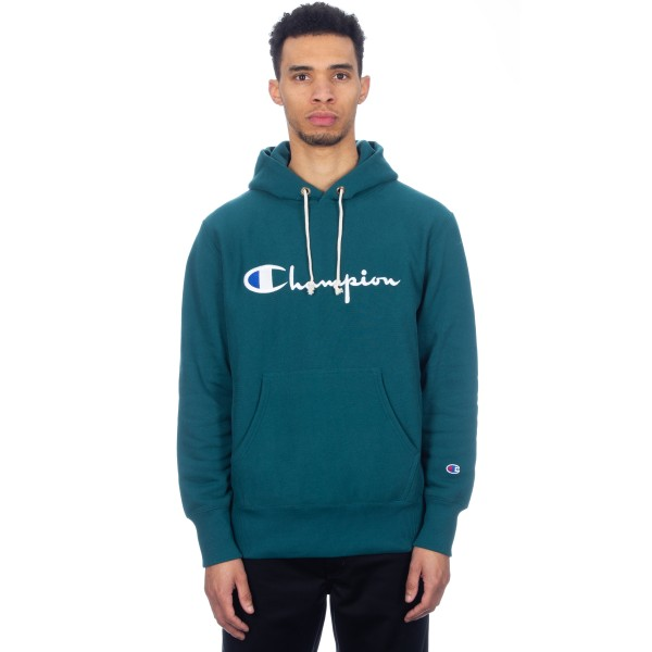 Champion Reverse Weave Script Applique Pullover Hooded Sweatshirt (Teal)
