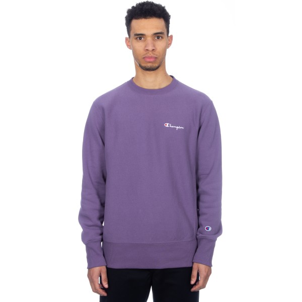 Champion Reverse Weave Script Logo Crew Neck Sweatshirt (Purple)