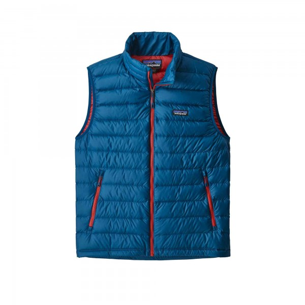 Patagonia Down Sweater Vest (Big Sur Blue w/Fire Red)