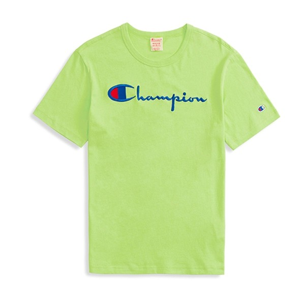 Champion Reverse Weave Script Applique Crew Neck T-Shirt (Lime)