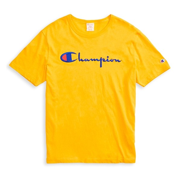 Champion Reverse Weave Script Applique Crew Neck T-Shirt (Yellow)