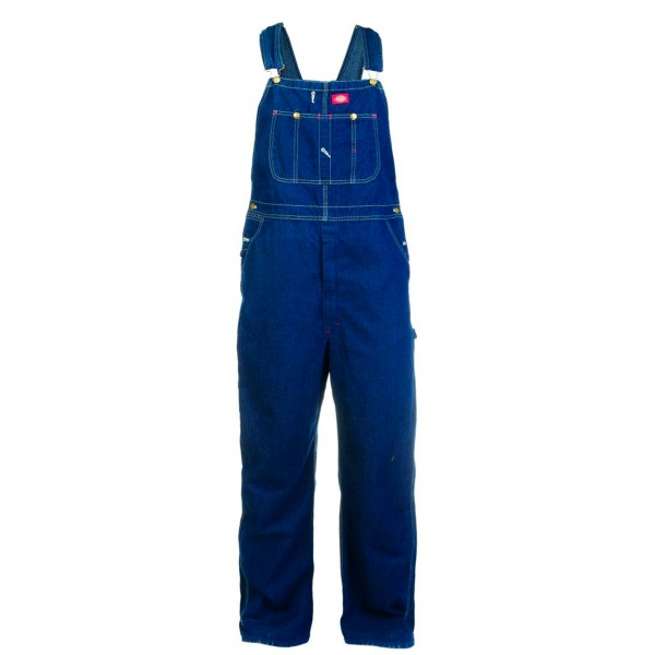 Dickies Fine Weave Blue Denim Bib Overall (Rinsed Indigo Blue)