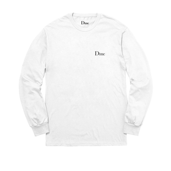 Dime Classic Logo Long Sleeve T-Shirt (White)