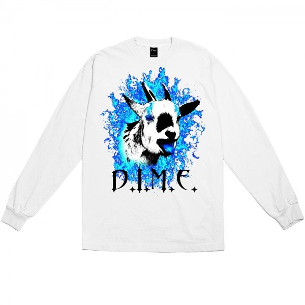 Dime Fire Goat Long Sleeve T-Shirt (White)