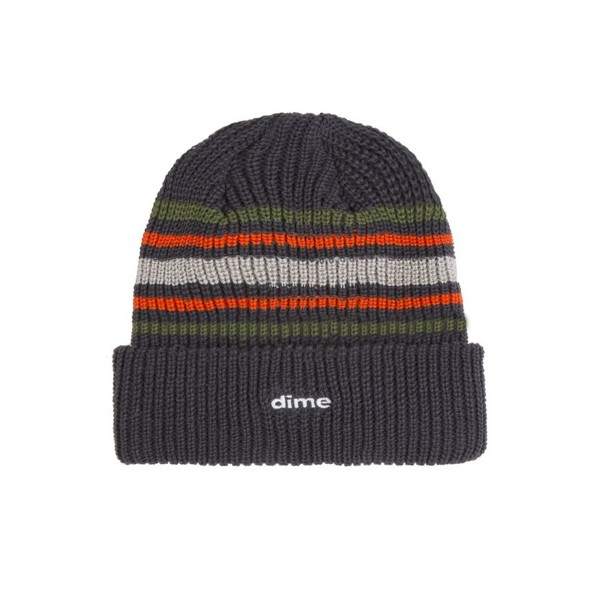 Dime Striped Beanie (Charcoal)