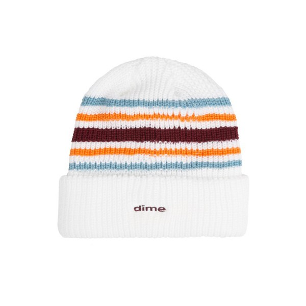 Dime Striped Beanie (White)