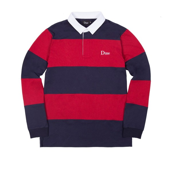 Dime Striped Rugby Shirt (Navy/Red)