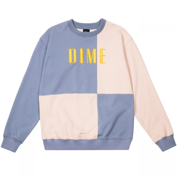 Dime Block Terry Crew Neck Sweatshirt (Light Blue/Cream)
