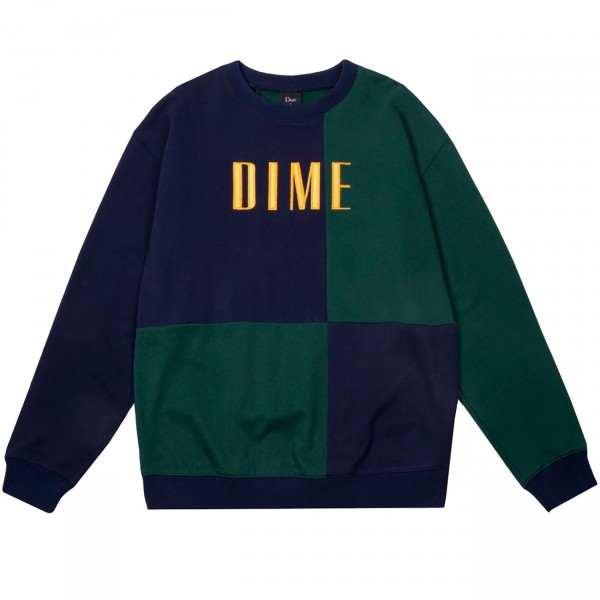 Dime Block Terry Crew Neck Sweatshirt (Navy/Green)