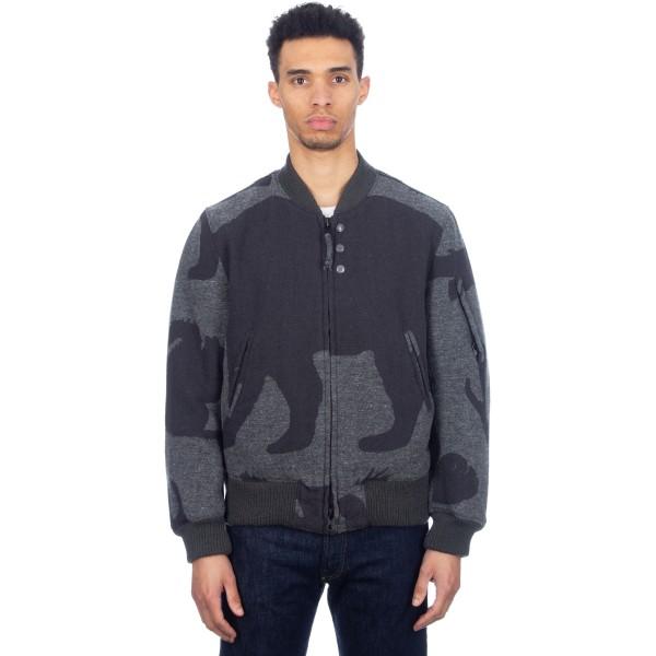 Engineered Garments Aviator Jacket (Woolrich Grey Animal Wool Jacquard)
