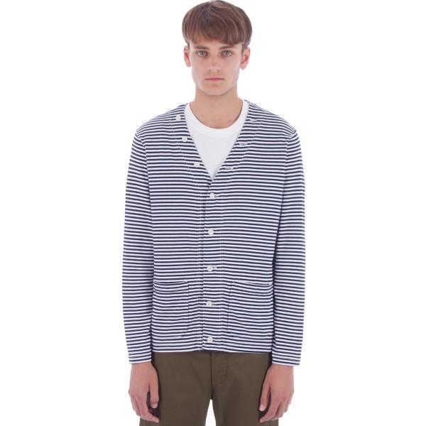 Engineered Garments Knit Cardigan (Navy/White Stripe Jersey)